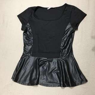 Black faux leather peplum shirt