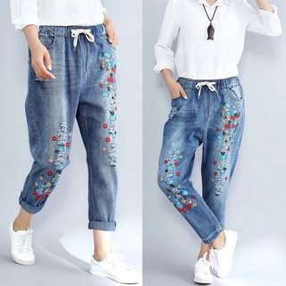 (S~3XL) 2018 spring casual washed harem pants embroidery flowers fat mm loose jeans female tide
