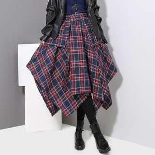 PO - High Waist Red Plaid Split Joint Skirt (2 colors)
