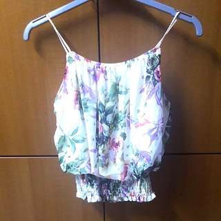 Smocked Waist Floral Braided cami Top