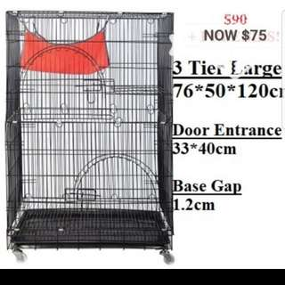 Cat Cage / Dog Cage / Pet Cage / Brand New 3 Tiers Cage/ Cheapest cage / DOUBLE Size for all platforms with 3 doors