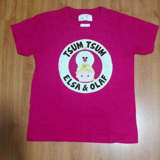 [Preloved] Chocoolate Tsum Tsum Elsa Olaf Pink Tshirt