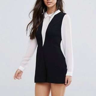 BNWT ASOS deep V playsuit with blouse underlayer