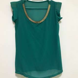 Green top with gold embellish