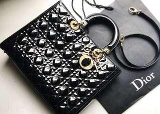 Lady dior large black patent leather 2010 ghw with strap, dustbag and paperbag