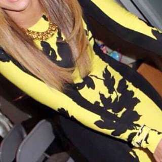 Yellow and black long sleeve dress