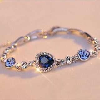 ladies Crystal Rhinestone Ocean Blue Bracelet Chain Heart