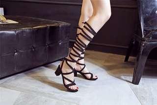 Black lace up heeled gladiator