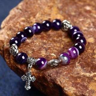 Agate Gemstone Purple Bracelet beads