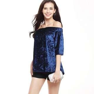 Blue Velvet Off Shoulder top