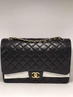 Chanel maxi double flap black caviar ghw #18 complete set with rec in excellent condition