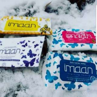 (INSTOCK AVAIL) Authentic Imaan Suci Feminine Cleansing Wipes, Family Wipes, Argan Oil Make Up Wipes & Feminine Wipes (10 sheets per pack) (Comes in 3 packs a set) PO