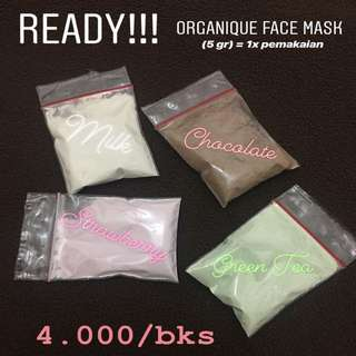 ORGANIQUE FACE MASK (Milk,Strawberry,Chocolate,Green Tea)