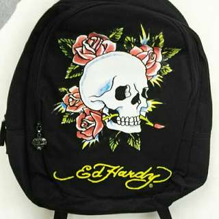 🚚 二手 正版 ED Hardy 後背包 玫瑰 骷髏 玫瑰花 骷髏頭 正品