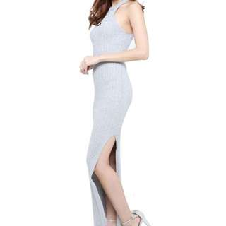 Slit cut knit maxi dress (avail in pink and grey)