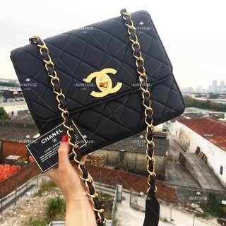 (SOLD)Chanel Vintage 黑色羊皮大CC 斜孭袋