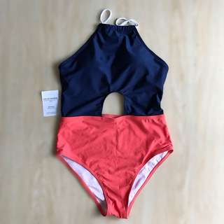 Delhi Orange and Navy Blue One Piece Swimsuit Monokini Swimwear