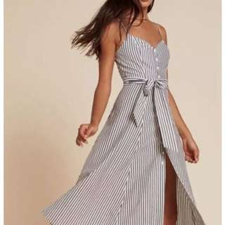 Self tie v neck midi spag dress