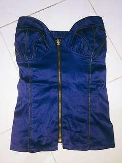 Bustier biru elektrik zipper didepan