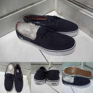 Sepatu Kets Vans Zapato Flannel Classics Canvas Dark Blue Navy Biru Navy