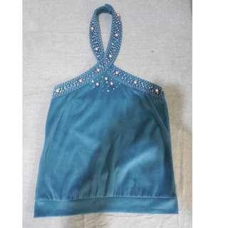 Bluegreen Velvet Backless Blouse