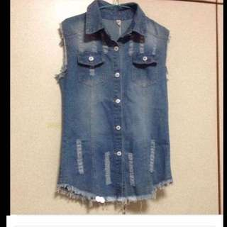 $69 Demin Vintage Rockstar Dress /Vest From Taiwan (Brand New With Tag)