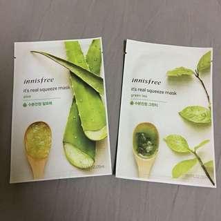 Innisfree Real Squeeze Mask (Aloe / Green Tea)
