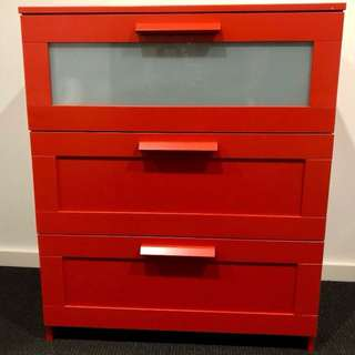 Red 3 drawers