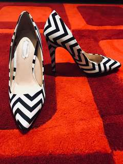 Chevron Black & White High Heels