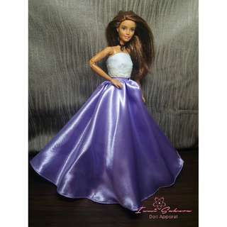 Flowy Satin Rapunzel Lavender Barbie Skirt