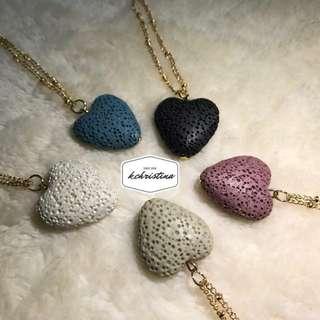 Heart Lava Stone Aromatherapy Diffuser Pendant Necklace