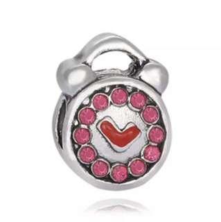 Pink Alarm Clock Charm