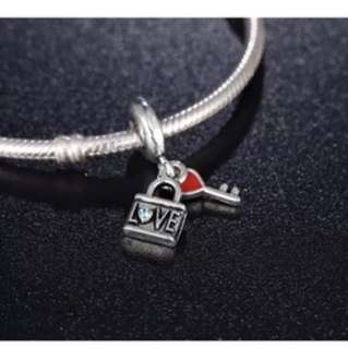Heart Key and Lock Charm