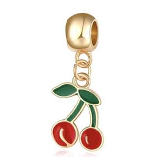 Red Cherry Gold Charm