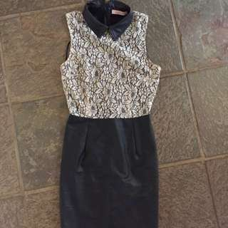 Cute lace and leather dress with collar