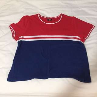 Cropped Tee - red blue white (M)