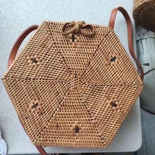 Straw bag purse handmade