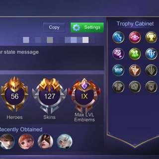 Mobile Legend MAX EMBLEM AND SKIN ACCOUNT