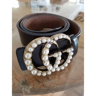 Gucci pearl leather belt