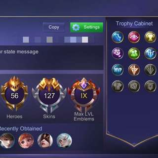 Mobile Legend MAX EMBLEM AND SKIN IOS ACCOUNT