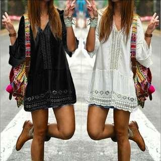 歐美時尚休閒渡假簡約日韓系氣質蕾絲鏤空波西米亞民俗風嬉皮喇叭袖上衣連身短洋裝