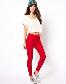 American Apparel Cotton Red Leggings