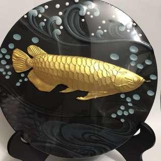 Gold  Arowana fish wooden plate 金龙鱼 年年有余