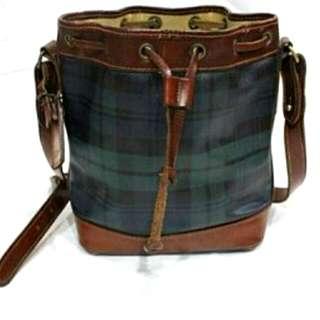 【POLO Ralph lauren】真皮綠格紋束口水桶包包側背包肩背包金牌(正品,8成