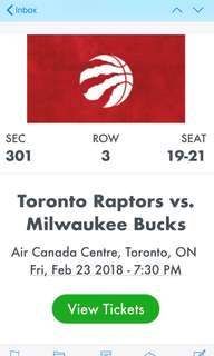Toronto Raptors vs Milwaukee Bucks- Friday, February 23rd @ 7:30 pm