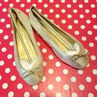 Korean gold ribbon ballet flats 韓國金色平底鞋