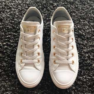White Leather Gold Hardware Converse