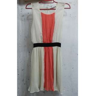 White and Orange Pleated Dress