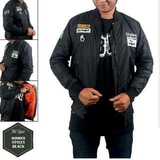 jaket bomber murah the bojiel Styles maroon dan hitam