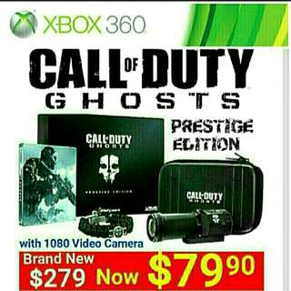 Brand New] Xbox360 Call Of Duty Ghost PRESTIGE EDITION BOX SET (includes Full HD 1080P video camera + 4GB SD Card worth $129). Usual Price:  $279.90  Special Offer: $79.90